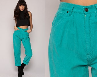 Corduroy Pants Jeans MOM Jeans High Waisted 80s Tapered PLEATED Trousers Turquoise Green Straight Leg 90s Vintage Hipster Small 26