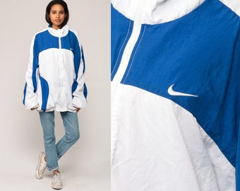 Nike Windbreaker Jacket 80s Nylon Shell Zip Jacket Striped White Blue Color Block Vintage 90s Retro Sports Extra Large xl xxl