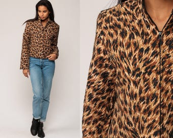 Leopard Print Jacket 90s Grunge Animal Jacket Tapestry Zip Up 80s Vintage Extra Small xs