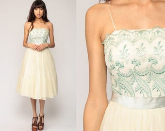 60s Party Dress Prom Dress Cocktail Lace Dress Cream Green Embroidered 1960s Mad Men Formal Evening Full Skirt Vintage Extra Small xs
