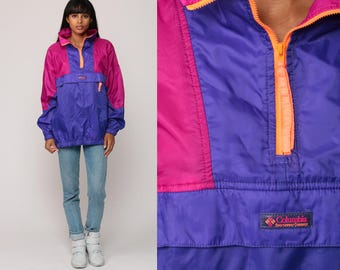 Columbia Windbreaker Jacket 90s Pullover Half Zip Coat Neon Hipster Purple Magenta Color Block Print Vintage Shell Jacket Extra Large xl