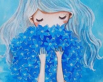 Sale BLUE original watercolour painting