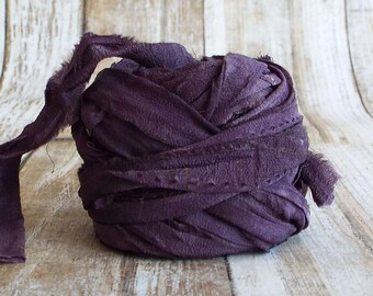 Chiffon Ribbon, Recycled Silk Chiffon Ribbon, Tiebacks, Baby Photography Prop, Wedding Invitations, Bridal Showers, Flower, Deep Violet