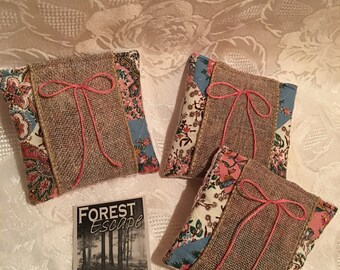 BURLAP AND LACE Sachets with Pink Bow, set of 3 drawer sachets, Delightful Japanese Cherry Blossom