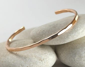 Medium Rose Gold Cuff, Hammered Stacking Bangle from Ophelia Collection in rose gold fill