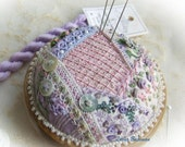 PP16 Crazy Patchwork Heirloom Treasure  Mauves/pinks - pincushion kit