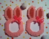 2 Handmade Pink Easter Bunny Picture Frame Magnets Plastic Canvas