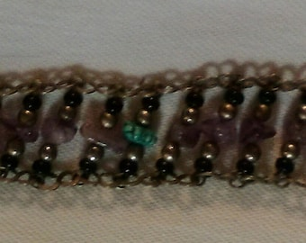 Vintage Amethyst, Onyx, and Turquoise wide bracelet
