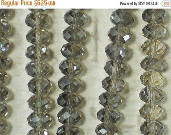 SALE 97 Dark Silver Rondelle Spacer Beads 4mm x 6mm Faceted Crystal (C262)