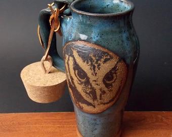 Stoneware Travel Mug With Cork ~ Intense Owl Design ~