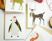 Boxed Set of 8 Assorted Merrily Cards- Deer, Moose, Polar Bear, Penguin