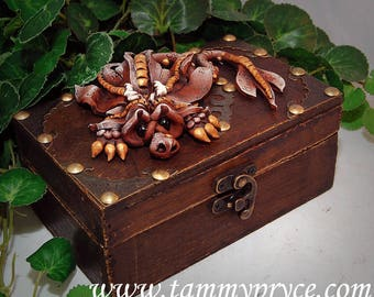 Ooak Polymer Clay Brown Sad Little Dragon Sculpture on small Old World chest #815 Fantasy Home Decor and Storage
