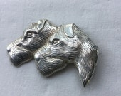 Vintage Sterling Silver Dog Heads Pin