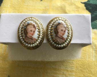 Vintage Porcelain Portrait & Pearl Clip Earrings