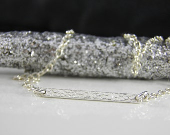 SALE - Jennifer Necklace - Silver Bar Necklace - Celebrity Inspired Jewelry