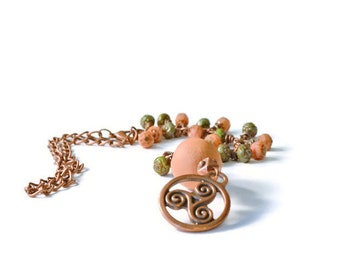 Celtic and Terracotta Pendant Essential Oil Diffuser Car Charm, Aromatherapy Accessories