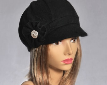 Emilie, 100% pure Cashmere Newsboy Hat...color black