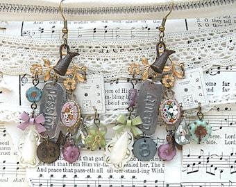 assemblage earrings winter garden mix czech flower micro mosaic object inspirational chandelier watch dial