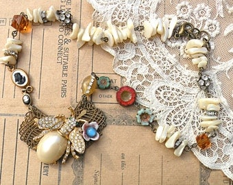 bee necklace assemblage upcycled jewelry czech flowers recycle repurpose mother of pearl