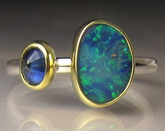 Boulder Opal and Blue Sapphire Ring, 18k Gold and Sterling Silver, Double Stone Ring