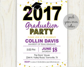 Graduation Party Invitation - Digital File - Choose your color (current year) no. 419G