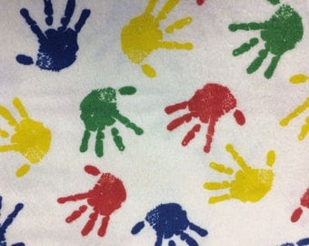 Hand Prints in Primary Colors Flannel Print 100% Cotton Flannel Fabric