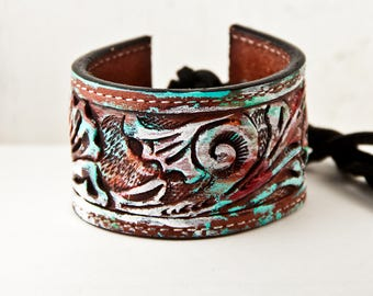 Tooled Leather Bracelet Cuff Wristband Vintage