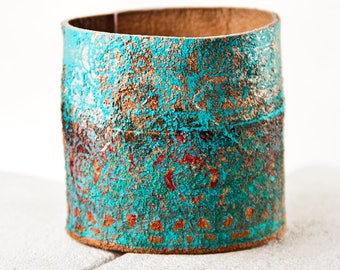 TURQUOISE Women's Cuff Bracelet Leather Jewelry - Coral Teal Gold Red