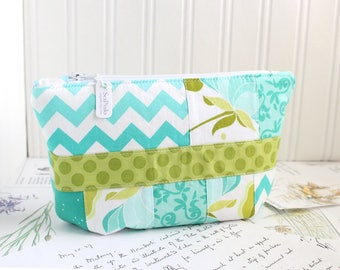 Turquoise and Green Scrappy Floral Cosmetic Bag Makeup Bag Aqua Patchwork Zipper Pouch Organizer Blue and Green