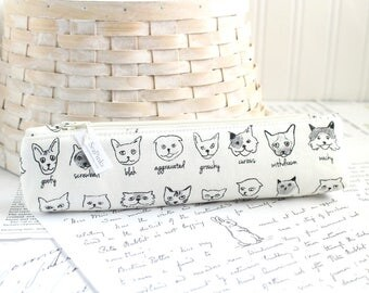 Back to School Small Cute Kitties Pencil Pouch Skinny Pencil Case Cute Pencil Case Black and White Cats Purse Organizer