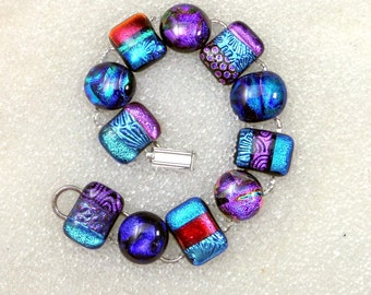 Dichroic Fused Glass Link Bracelet in Jewel Tone Power Colors, Purple, Blue, Teal, Pink, Magenta, Green, Silver, Red