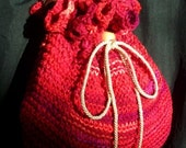 RESERVED for Wookie1910, RED Shoulder Purse, Hand Knitted in variegated red, Pillow soft, RedRobinArt