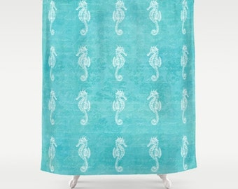 Seahorses Fabric Shower Curtain Aqua Home Decor Teal Turquoise Nautical Coastal