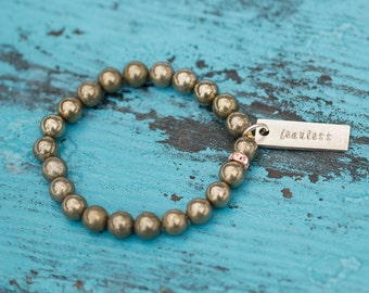 Pyrite Beaded Bracelet/ Custom Silver Tag Jewelry/ Inspirational Bracelet/ Fearless/ Stacking Bracelets/ Meaningful Jewelry