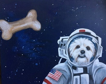space dog space cat Sample Custom painted pet portrait in space suit Please Specify