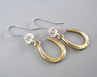 Horseshoe Earrings, Gold Earrings for Women, Nickel Free Earrings, Cool Earrings, Gold Drop Earrings, Smart Jewelry, Gold Dangle Earrings