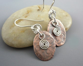 Nickel Free Earrings, Hammered Copper, Nickel Free Jewelry, Cool Earrings, Smart Jewelry, 7th Anniversary Gift, Spiral Earrings