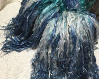 Long Suri Alpaca Locks, 11 Inches, Hand-Dyed, Washed and Conditioned, Indigo and Lily