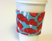 Red Poppie Coffee Sleeve cozy