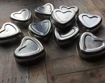 Vintage Aluminum Heart Molds - Set of 10