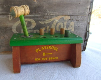 Vintage 1950s Playskool Nok Out Bench Wooden Toy Bench with Hammer and Pegs