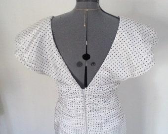 vintage 80s dress, LEON HASKIN, designer dress, original label, big impact dress, 80s does 50s, wiggle dress, bombshell dress, sexy back