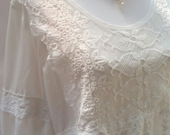 beige lace top, ivory lace blouse, gypsy top, hippie clothing, plus size top, big size clothing, large lace top, large lace blouse