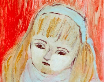Fine Art Print, Giclee Art, from painting, modern wall art red turquoise, face little girl, by Ana Gonzalez