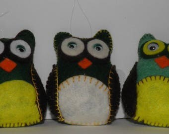 Trio Of Hanging Felt Owls