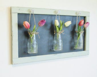 Hanging Vintage Milk Bottle Wall Decor..Chic Farmhouse Framed Chalkboard..Glass Knobs..Home Decor..