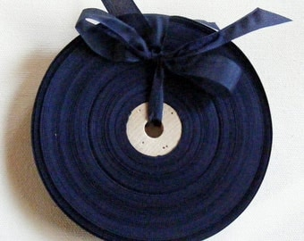 Vintage French 1930's-40's Woven Ribbon -Milliners Stock- 5/8 inch  Navy Blue