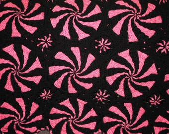Black and Pink peppermint afghan