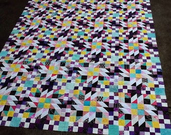 GRAND ILLUSION Colorful Unfinished Quilt Top