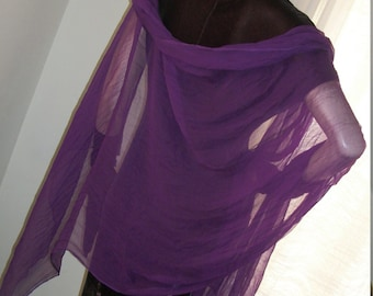 1960s Vintage Sheer Chiffon Purple Huge Shawl Wrap One Size Square Mint Cond Timeless
